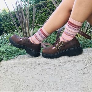 Vintage Chunky Suede T-Strap Mary Janes Creepers